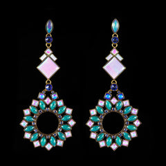 Konplott 'Ethnic Mosaic' Blue Extra Long Pierced Earrings (106144)