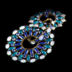 Konplott 'Ethnic Mosaic' Blue Spectacular Clip-on Earrings (099651) detail