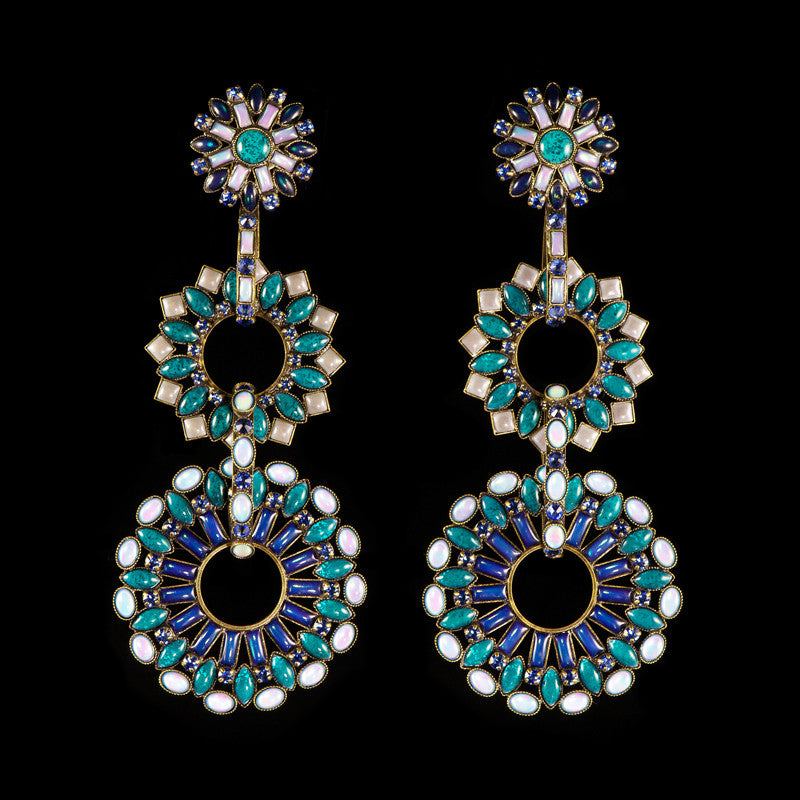 Konplott 'Ethnic Mosaic' Blue Spectacular Clip-on Earrings (099651)