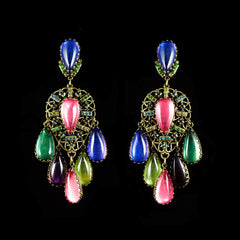 Konplott 'Indian Paradise' Large Multi Coloured Clip-on Earrings (050362)