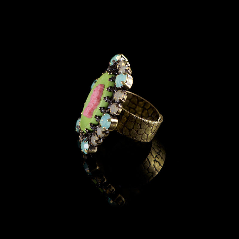 Konplott 'Macaroon' Large Pink & Green Cameo Ring (057279) side