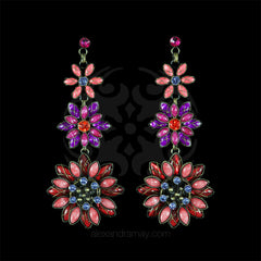 Konplott 'Psychodahlia' Spectacular Long Pink Flower Pierced Earrings (215747)