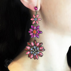 Konplott 'Psychodahlia' Spectacular Long Pink Flower Pierced Earrings (215747) model