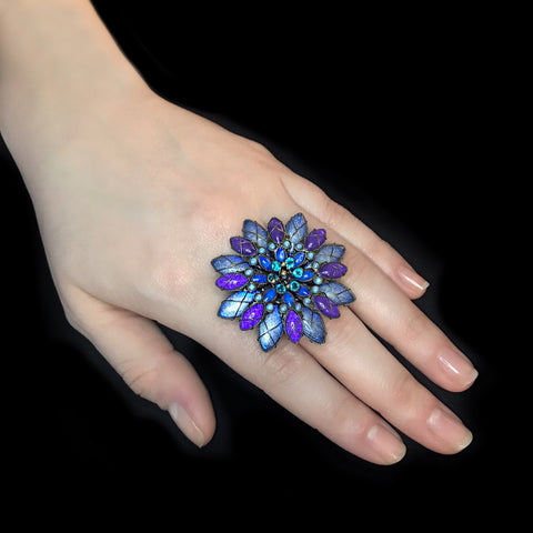 Konplott 'Psychodahlia' Magnificent Purple and Blue Flower Ring (215471)
