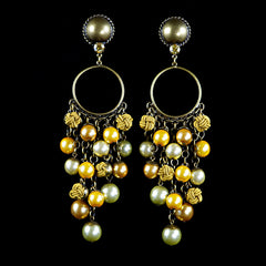 Konplott 'Bubble Pearls' Yellow Large Clip-on Earrings (831116)