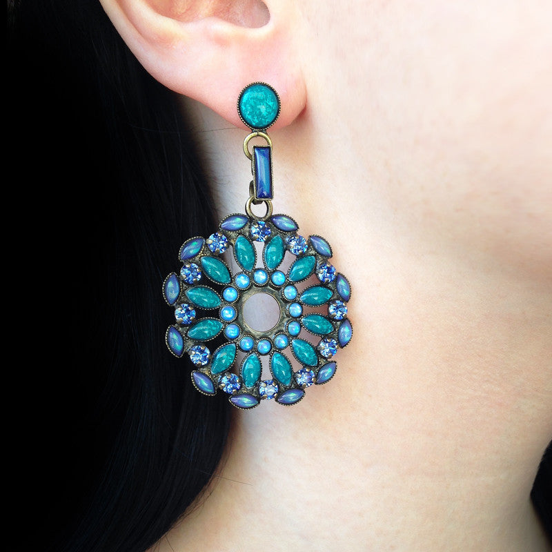 Konplott 'Ethnic Mosaic' Blue Mosaic Pierced Disk Earrings (104010) model