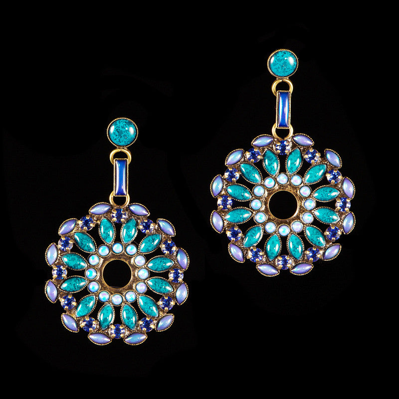 Konplott 'Ethnic Mosaic' Blue Mosaic Pierced Disk Earrings (104010)