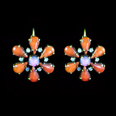 Konplott 'Love me Tender' Orange Flower Earrings (891165) Front