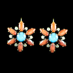 Konplott 'Love me Tender' Orange Flower Earrings (891158) Front