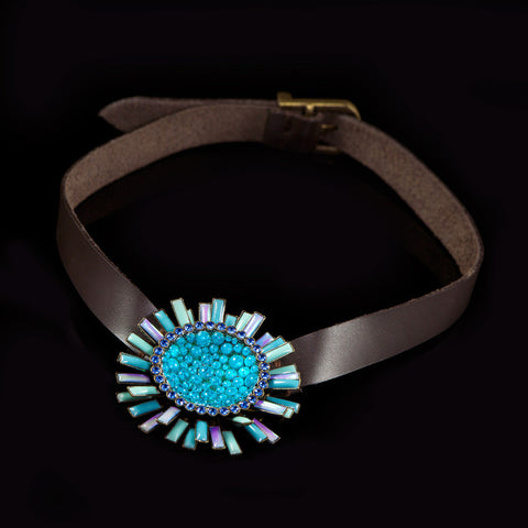 Konplott 'Doris Daisy' Single Turquoise Flower on Leather (105253) detail