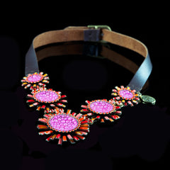 Konplott 'Doris Daisy' Spectacular Pink & Orange Flowers on Leather Necklace (105390)