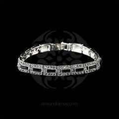 Luke Stockley Marcasite Black Onyx Rectangular Link Bracelet (BR284O) front