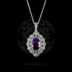 Luke Stockley Marcasite & Amethyst Victorian Oval Pendant (HP695-AM) front