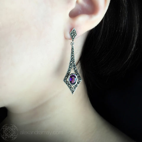 Luke Stockley Marcasite & Amethyst Long Kite Earrings (EM806AM)