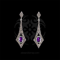 Luke Stockley Marcasite & Amethyst Long Kite Earrings (EM806AM) front
