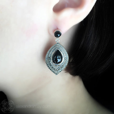 Luke Stockley Marcasite & Black Onyx Leaf Earrings (SME1257O)