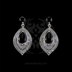 Luke Stockley Marcasite & Black Onyx Leaf Earrings (SME1257O) front