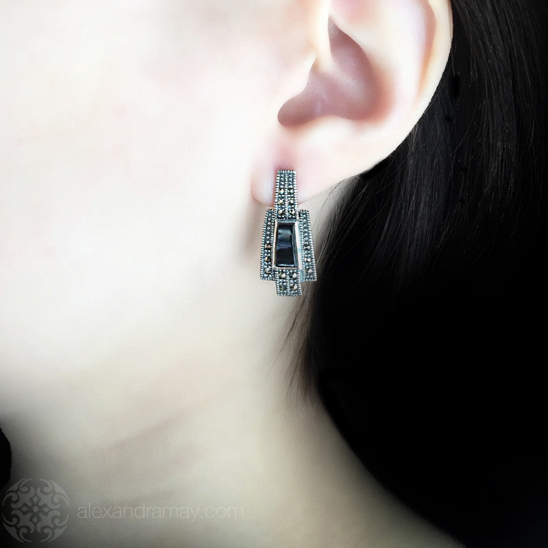 Luke Stockley Marcasite & Black Onyx Geometric Earrings (AE255O) model
