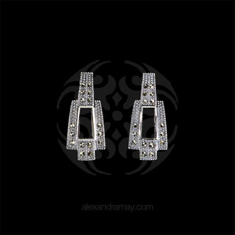 Luke Stockley Marcasite & Black Onyx Geometric Earrings (AE255O)