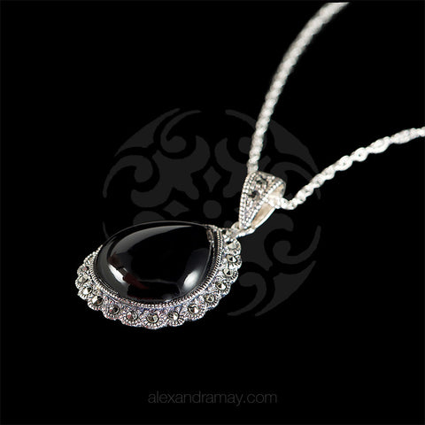 Luke Stockley Marcasite & Black Onyx Teardrop Pendant (SMN13980) side