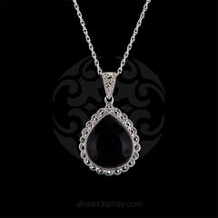 Luke Stockley Marcasite & Black Onyx Teardrop Pendant (SMN13980) front