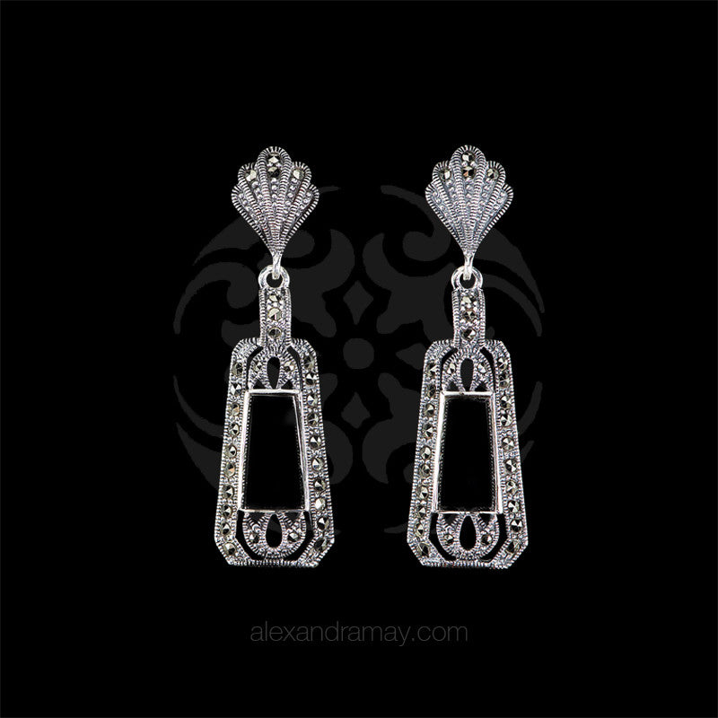 Luke Stockley Marcasite & Black Onyx Deco Earrings (HE141O)