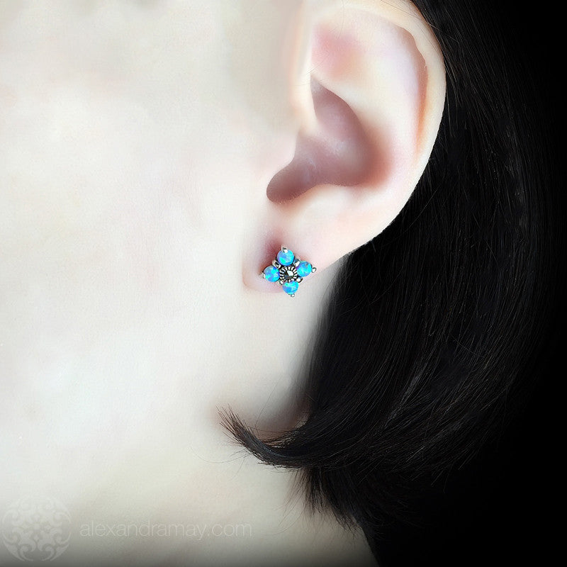 Luke Stockley Marcasite & Blue Opal Flower Earrings (HE402BOP)