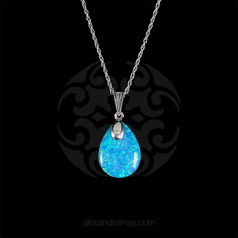 Luke Stockley Marcasite & Blue Opal Teardrop Pendant (HP717BOP)