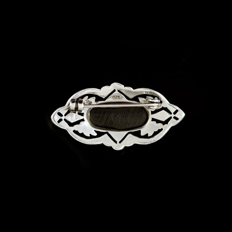 Luke Stockley Silver Marcasite Decorative Black Onyx Brooch (AB168-O) back
