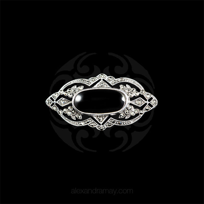 Luke Stockley Silver Marcasite Decorative Black Onyx Brooch (AB168-O)