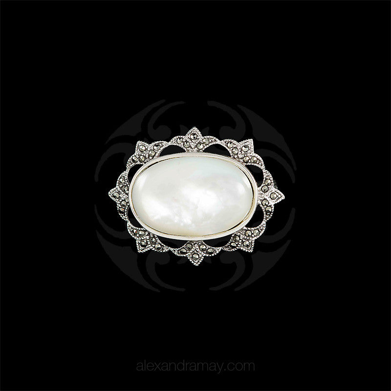 Luke Stockley Silver Marcasite Oval Mother of Pearl Brooch (BM905-MOP) front