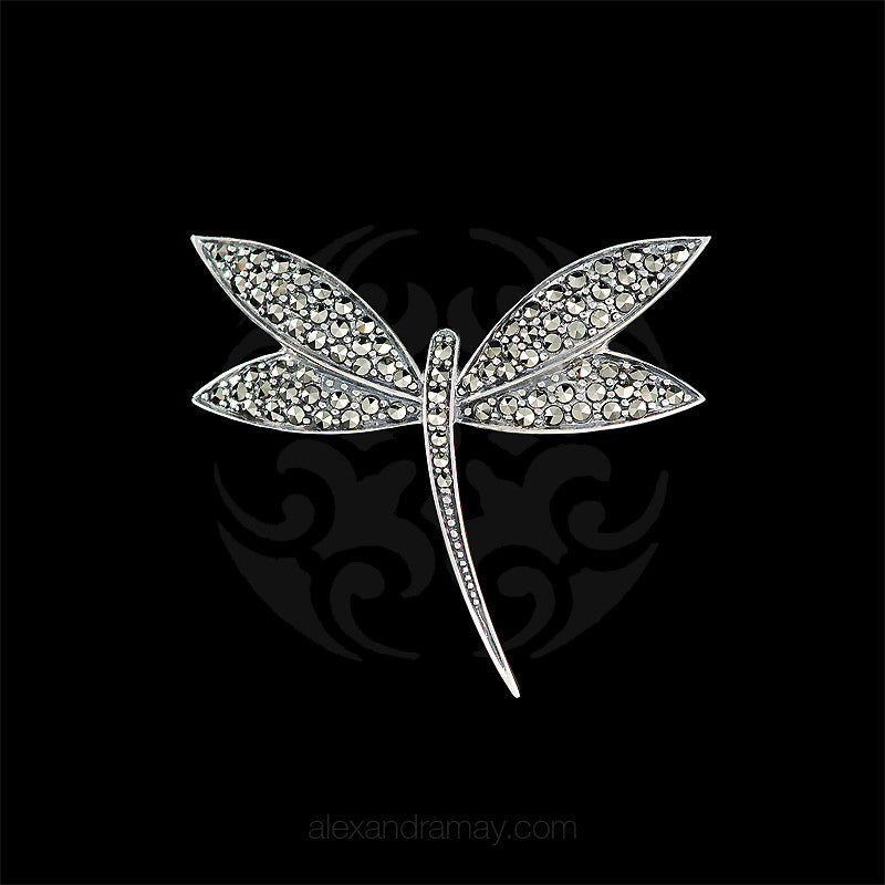Luke Stockley Silver Marcasite Art Deco Dragonfly Brooch (M3549) front