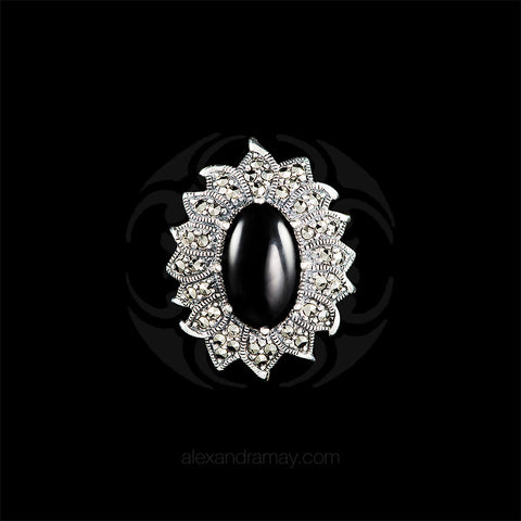 Luke Stockley Silver Marcasite Black Onyx Sunflower Pendant Brooch (AB168-O) front