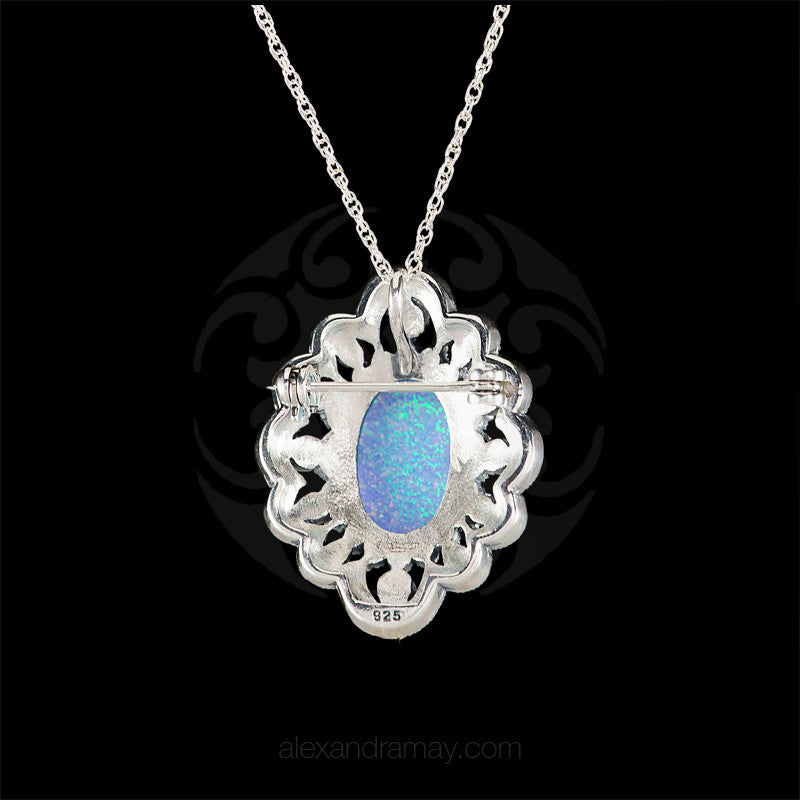 Luke Stockley Silver Marcasite Ornate Blue Opal Pendant Brooch (HB534-BOP)