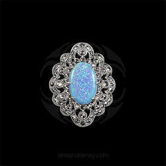 Luke Stockley Silver Marcasite Ornate Blue Opal Pendant Brooch (HB534-BOP) front