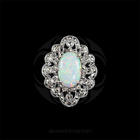 Luke Stockley Silver Marcasite Ornate White Opal Pendant Brooch (HB534-OP) front