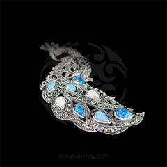 Luke Stockley Marcasite & Opals Spectacular Peacock Pendant Brooch (HB566) detail