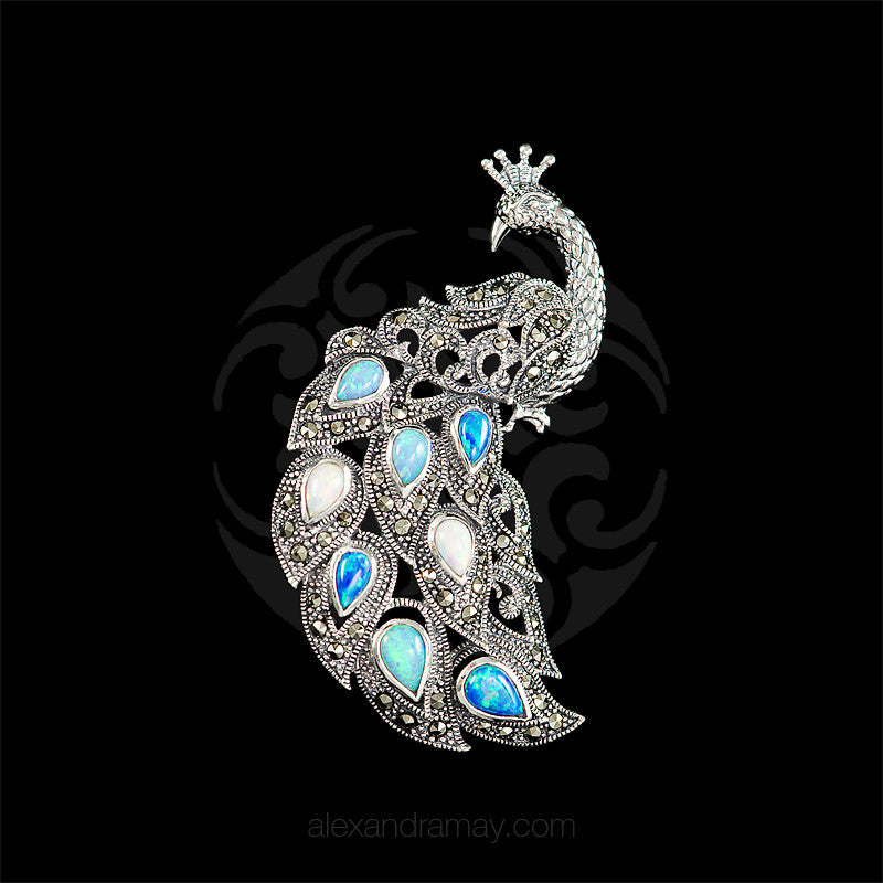 Luke Stockley Marcasite & Opals Spectacular Peacock Pendant Brooch (HB566) front