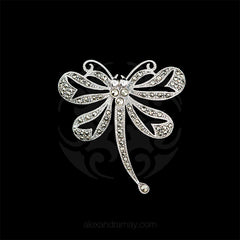 Luke Stockley Silver Marcasite Heart-winged Dragonfly Brooch (BM034) front