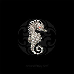 Luke Stockley Silver Marcasite & Garnet Seahorse Brooch (HB445) front