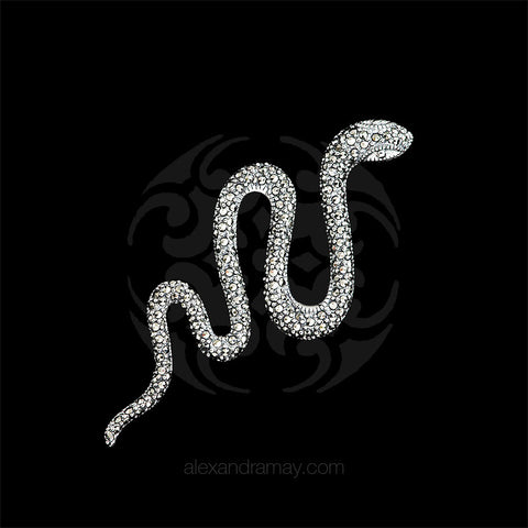 Luke Stockley Silver Marcasite Curving Snake Brooch (M3357)