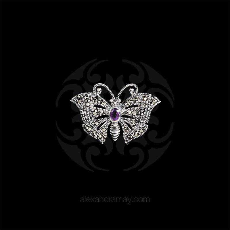 Luke Stockley Silver Marcasite & Amethyst Miniature Butterfly Brooch (HB489-AM) front