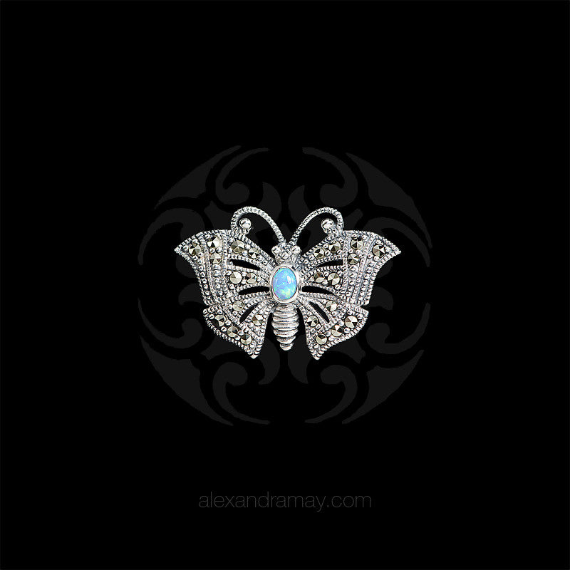 Luke Stockley Silver Marcasite & Blue Opal Miniature Butterfly Brooch (HB489-BOP)