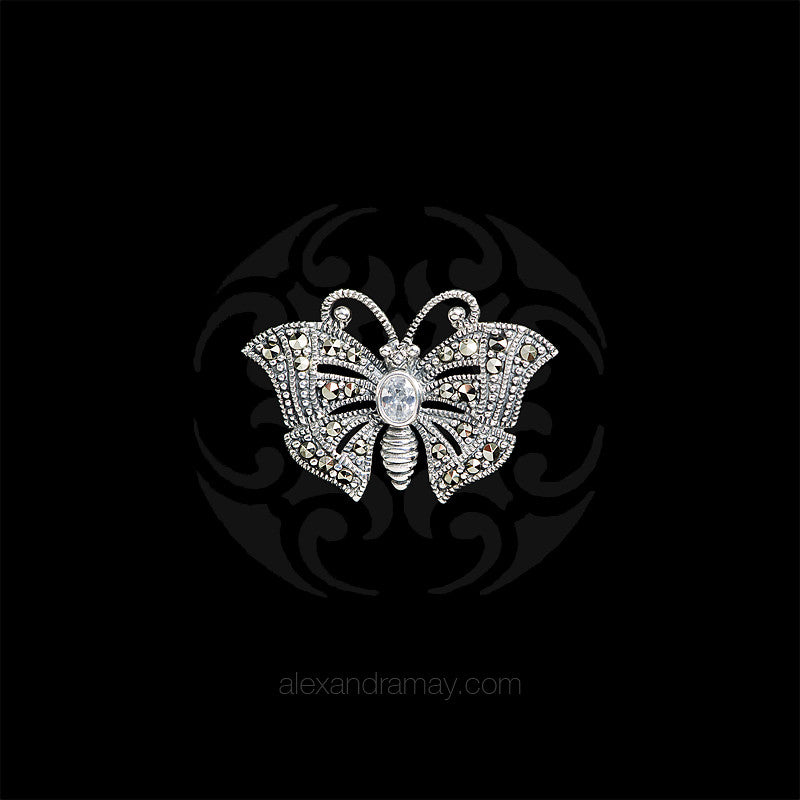 Luke Stockley Silver Marcasite & Cubic Zirconia Miniature Butterfly Brooch (HB489-CZ) front