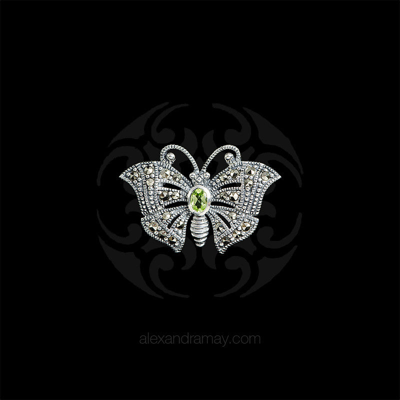 Luke Stockley Silver Marcasite & Peridot Miniature Butterfly Brooch (HB489-PD) front