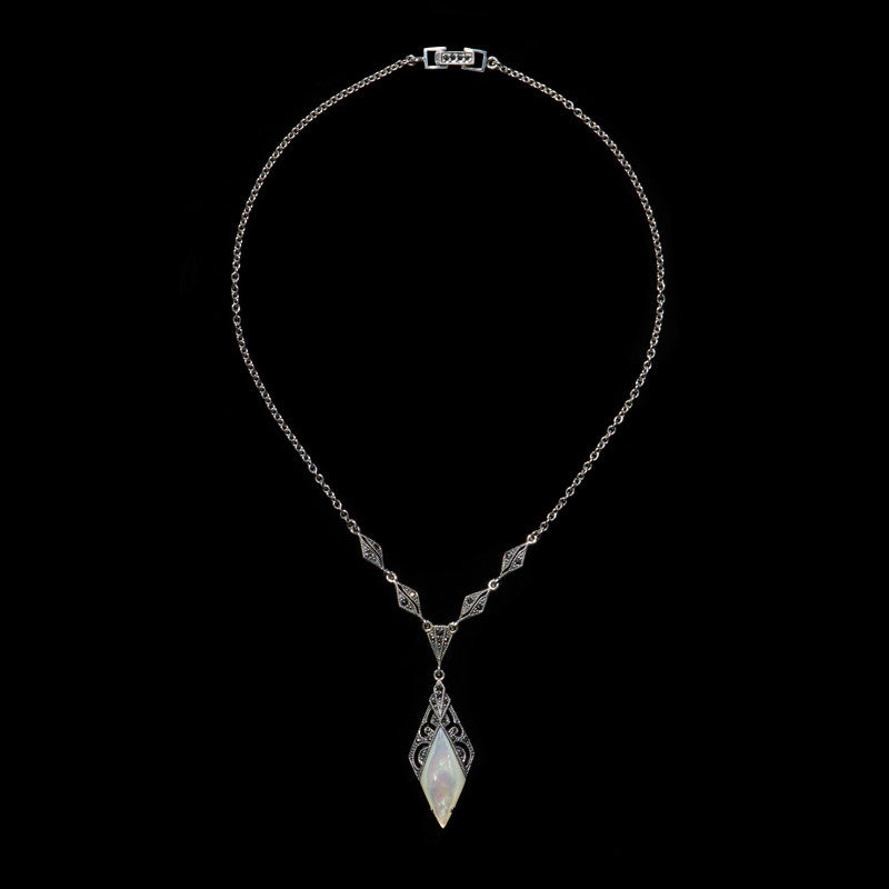 Luke Stockley Marcasite Mother of Pearl Diamond Shaped Pendant Necklace (N138MOP)