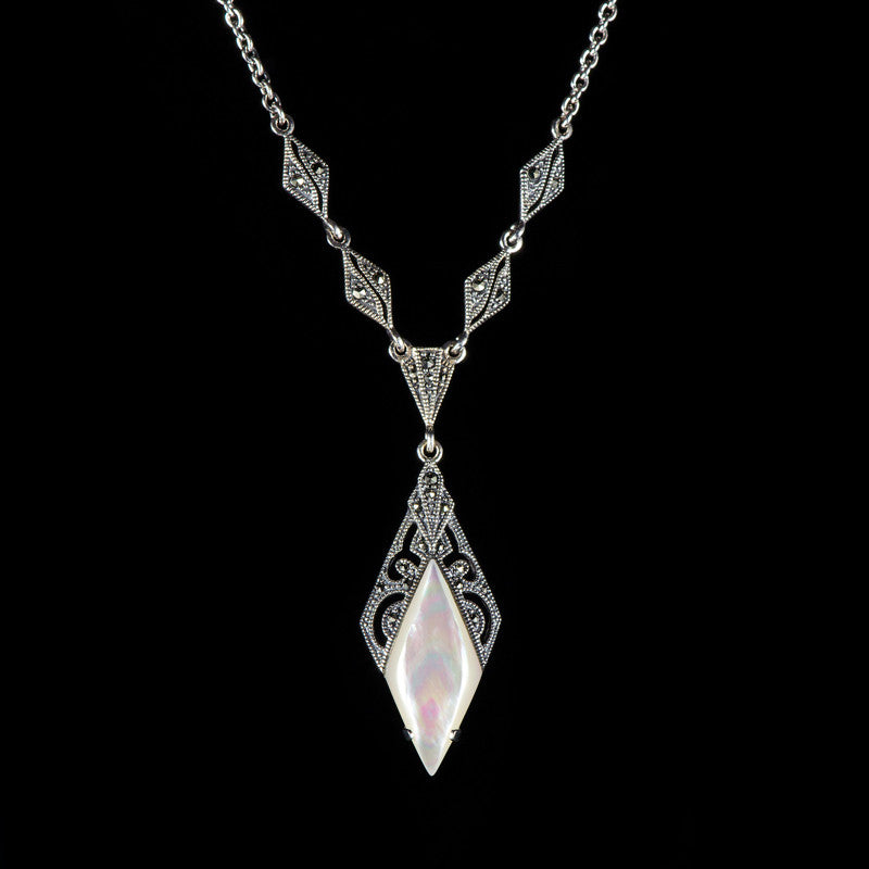 Luke stockley marcasite mother of pearl diamond shaped pendant necklac luke stockley marcasite mother of pearl diamond shaped pendant necklace n138mop aloadofball Image collections
