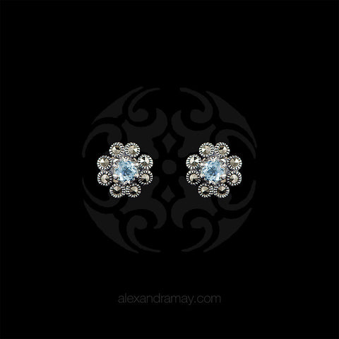 Luke Stockley Marcasite & Blue Topaz Flower Stud Earrings (HE665-BT)