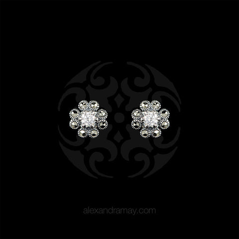Luke Stockley Marcasite & Cubic Zirconia Flower Stud Earrings (HE665-CZ)