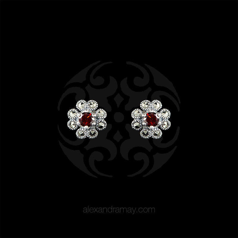 Luke Stockley Marcasite & Garnet Flower Stud Earrings (HE665-GN)